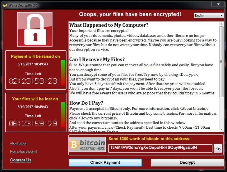 WCry, WannaCry, WanaCrypt0r, WannaCrypt, or Wana Decrypt0r.
