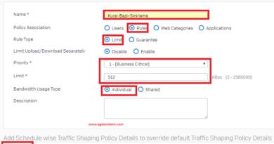 Sophos XG Firewall Kural Bazlı Bant Genişliği Uygulanması