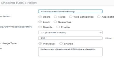 Sophos XG Firewall Kullanıcı Bazlı Bant Genişliği